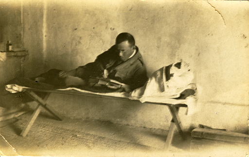 Zeev Jabotinsky in his cell, Acre Prison. 1920